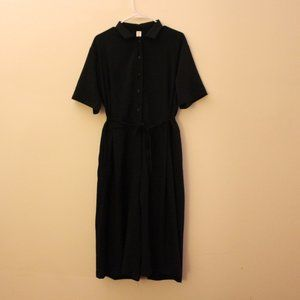 Vintage Black Linen Cotton Wide Leg Jumpsuit